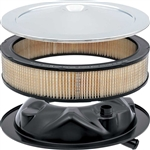 1967 - 1969 Camaro Correct Open Element Air Cleaner Kit with Curved Service Instructions Chrome Lid, Base, and Filter