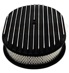 "1967 - 1992 Camaro Air Cleaner Assembly, 12"" Oval Open Element, BLACK ALUMINIUM FULL FINNED"