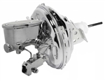 "1967 - 1981 Camaro CHROME 11"" Power Brake Booster Kit with Oval Master Cylinder & Proportioning Valve Kit for Disc/Drum"