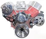 New Big Block Chevy V-Belt Front Drive System with Power Steering, Polished Billet Aluminum