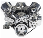Chevy Small Block Billet Aluminum Complete S-Drive Serpentine Kit WITHOUT  A/C and BILLET Maval Power Steering Reservoir