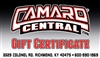 Camaro Central Gift Certificate / Card for www.camarocentral.com