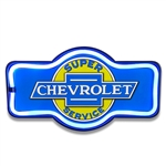 "Super Chevrolet Service LED Neon Looking Sign, 17"" Marquee Shape"