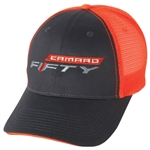 New Camaro Fifty Baseball Cap Mesh Back Hat, Charcoal & Orange