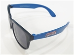 Camaro Central Retro Sunglasses, Black Front and Blue Arms