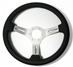 1967 - 1989 Camaro Leather Steering Wheel, Custom Brushed Spokes