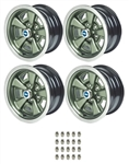 1970 - 1981 Five Spoke Mag Wheel Kit, New with Center Cap and Trim Ring Choices