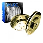 R1 Concepts eLine Gold Edition Drilled and Slotted Front Rotors 05-14 Challenger, Charger, Magnum, 300 6.1L, 6.4L, 392