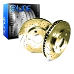 R1 Concepts eLine Gold Edition Drilled Front Rotors 05-14 Challenger, Charger, Magnum, 300 6.1L, 6.4L, 392