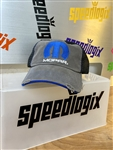 Grey And Blue Mopar Logo Distressed Hat