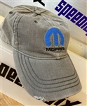 Distressed Grey Hat Blue Mopar Logo