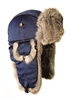 Supplex Mad Bomber Hat Navy  with Gray Rabbit Fur