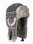 Grey Plaid Wool Mad Bomber with Grey Fur