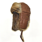 Leather Bomber Hickory with Brown Rabbit Fur