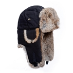 Black Canvas Mad Bomber with Brown Rabbit Fur