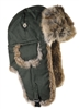 Moss Green Waxed Cotton Bomber Khaki w/ Brown Rabbit Fur
