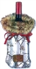 Bottle Cover - Fur and Camo Wine Bag; Snow Real Tree with Brown Faux Fur