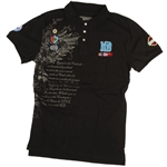 100% Cotton Polo; Silkscreened with Appliqué Patches