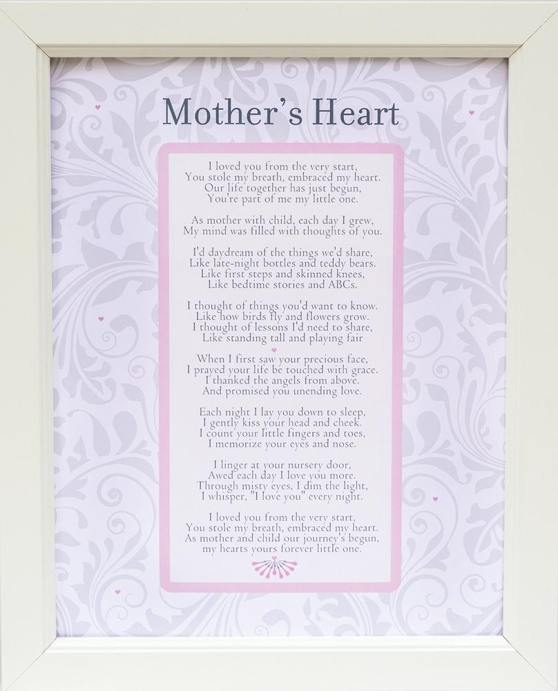 Mother's Heart Poem Frame 11x14 White
