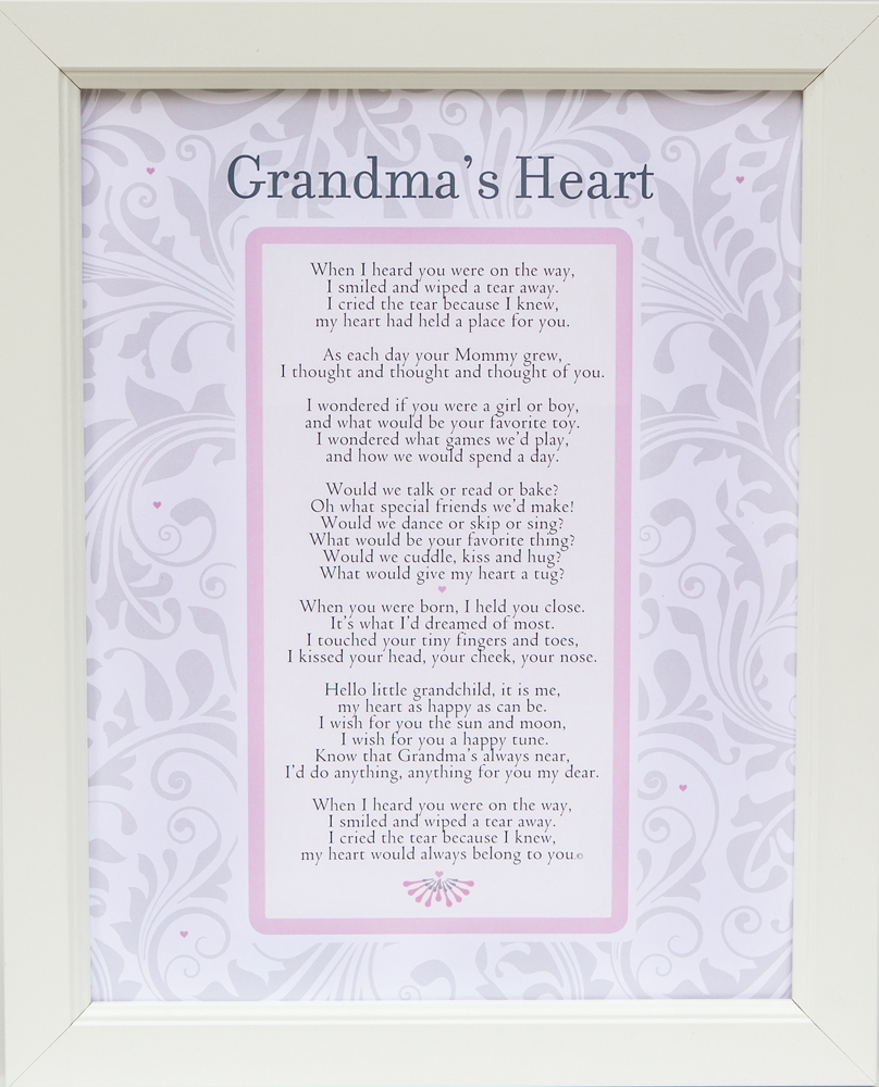 Grandma S Heart Poem Frame 11x14 White