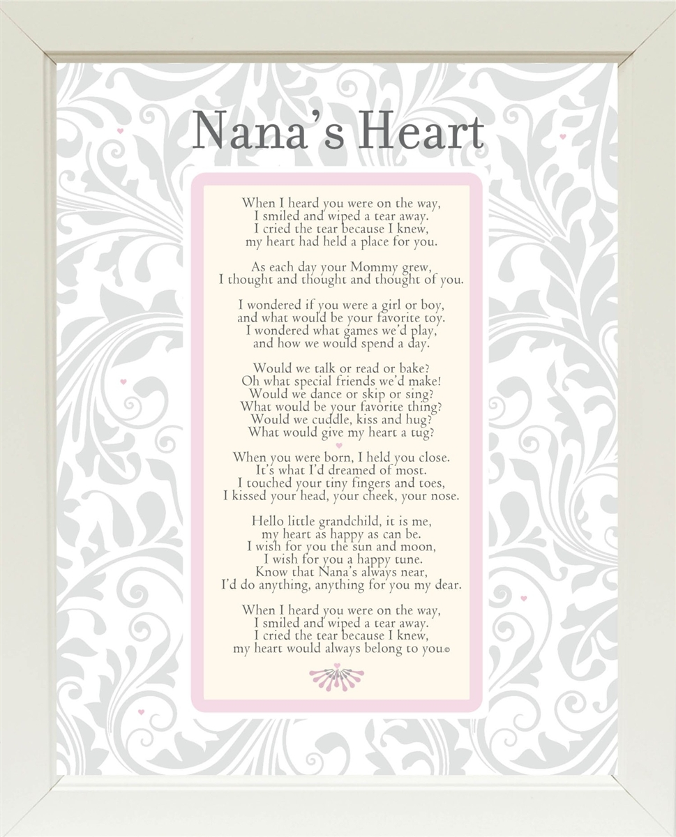 Nana's Heart Poem Frame 11x14 White