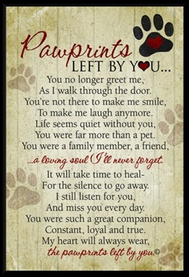 Pawprints Left by You Pet Loss Plaque