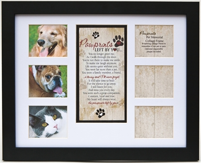 Pawprints Left by You Pet Loss Collage Frame