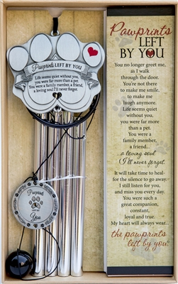 Pawprints Left by You Pet Memorial Windchime