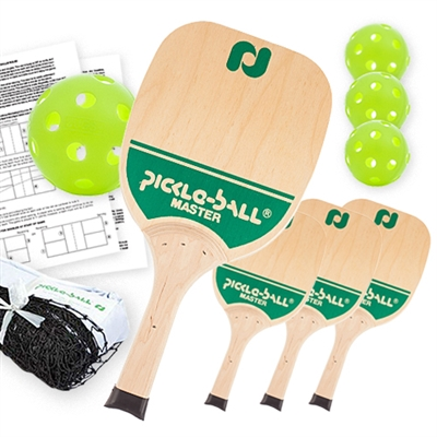 Master Pickleball Net Set (USA) includes black net, 4 wooden paddles, and 4 Indoor balls.