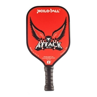 "Attack 2.0 Pickleball Paddle featuring an eagle spreading its wings on a solid color background accented by the word ""Attack"". Available in red, gray, green or blue all including black edge guard and cushion grip."