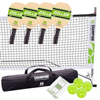 Tournament Diller Pickleball Set 3.0  includes portable lightweight net, 4 imported wooden paddles, and 4 Jugs Indoor pickleballs.