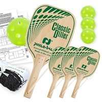 Classic Diller Pickleball Set (USA) includes black net,  4 wooden paddles, and 4 Green Jugs Indoor balls.