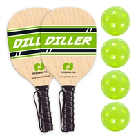 Diller 2-Player Pack includes 2 wooden paddles and 4 green indoor balls.