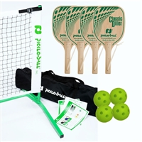 Tournament Classic Diller Pickleball Set 3.0 (USA) includes black net, 4 wooden paddles, and 4 Jugs pickleballs.