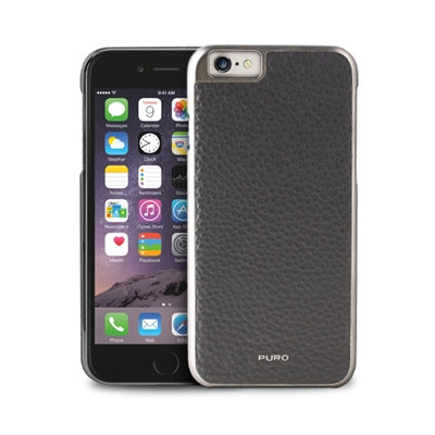 Puro Business Real Leather Case for iPhone 6 Plus W/Gun Frame & Card Slot Grey