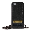 Puro Glam for iPhone 6 Silver Chain Ecoleather Black Cover 2 Card Slots