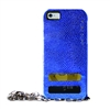 Puro Glam for iPhone 6 Gold Chain Ecoleather Blue Cover 2 Card Slots