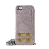 Puro Glam for iPhone 6 Silver Chain Ecoleather Grey Cover 2 Card Slots