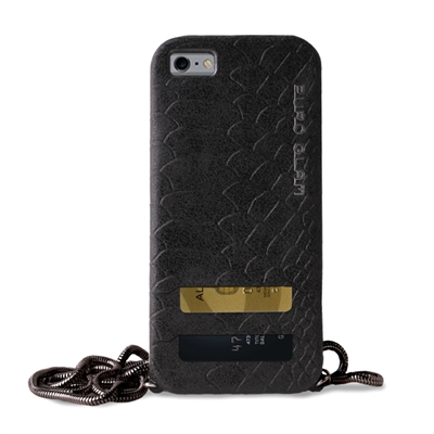 Puro Glam for iPhone 6 Plus Silver Chain Ecoleather Black Cover 2 Card Slots
