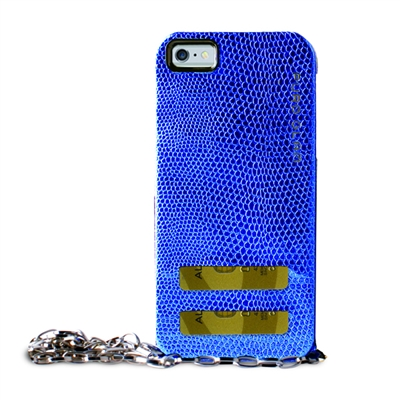 PGlam for iPhone 6 Plus Gold Chain Ecoleather Blue Cover 2 Card Slots