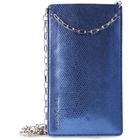 Puro Glam Universal Pouch W/Gold Chain Ecoleather 2 Card Slot Blue XXL