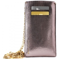 Puro Glam Universal Pouch W/Gold Chain Ecoleather 2 Card Slot Bronze XL