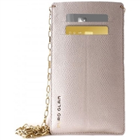 Puro Glam Uni Pouch W/Gold Chain Ecoleather 2 Card Slot Pearl XXL