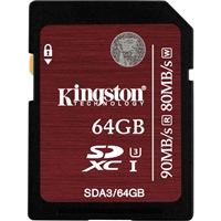 Kingston SDA3/64GB 64GB SDHC Class 3 Flash Card