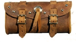 Small Brown Leather Tool bag with Studs and Concho