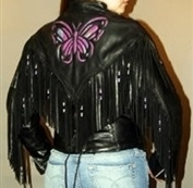 Women's Black Leather Butterfly Jacket