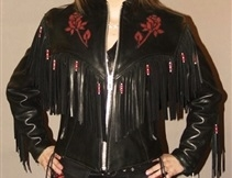 Women's Red Rose Leather Jacket with Fringe & Beads