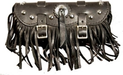 Small Black Leather Tool Bag with Studs, Concho and Fringe