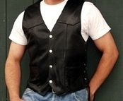 Mens Classic Black Leather Vest