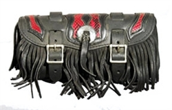 Large Red Snake Skin Flame, Fringe Leather Tool Bag